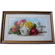 Antique Chrysanthemums Print Paul de Longpre Fall Beauties c1890s Victorian Half Yard Long