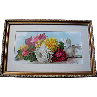 c1895 Chrysanthemums Print Paul de Longpre Fall Beauties Half Yard Long Chromolithograph Flower Floral Antique Victorian