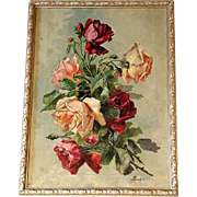 Antique Roses Paint Oil on Canvas Victorian Signed after Catherine Klein C Klein