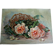French Antique Roses Oil on Canvas Painting Catherine Klein Half Yard Long