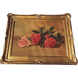 Antique Roses Painting after Patty Thum Canvas Board