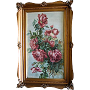 Antique Roses Painting Signed Watercolor c1890 Original Gold Frame Large