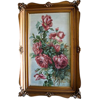 Antique Cabbage Roses Watercolor Painting Signed Fancy Frame c1890