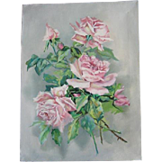 Vintage Roses Painting Oil on Canvas Catherine Klein