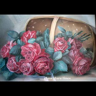 Cabbage Roses Painting Paul de Longpre Basket of Beauties Antique