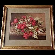 de Longpre Antique Roses Print Lilacs c1916 Vintage