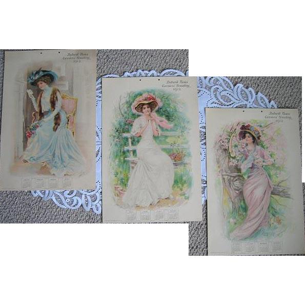 c1912 Antique Lady Calendar Roses Leon Moran Detroit.