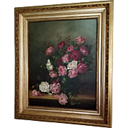 c1890 Antique Roses Oil on Canvas Painting XXL Chittenden