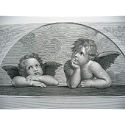 Antique Cherub Cupid Angel Large Print Engraving c1867 Rafaelle