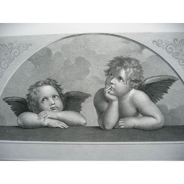 Antique Cherub Cupid Angel Large Print Engraving c1867 Rafaelle