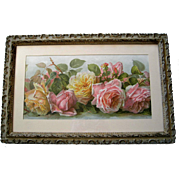 Paul de Longpre Roses Print Just Too Sweet Antique Victorian Barbola Frame