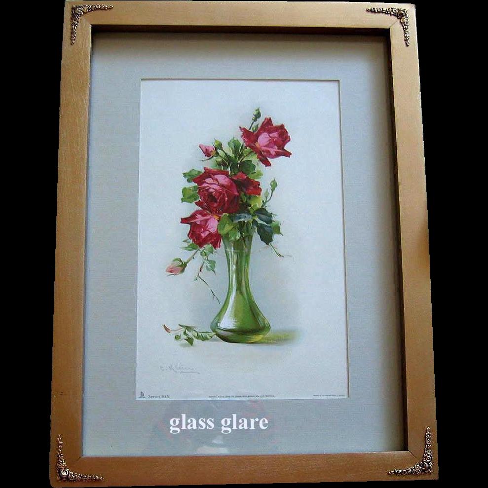 c1890s Cabbage Roses Print Catherine Klein Antique Victorian Print Rose Flower