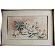 c1900 Edwardian Daisies Watercolor Painting Original Frame Intact Signed Half Yard Long