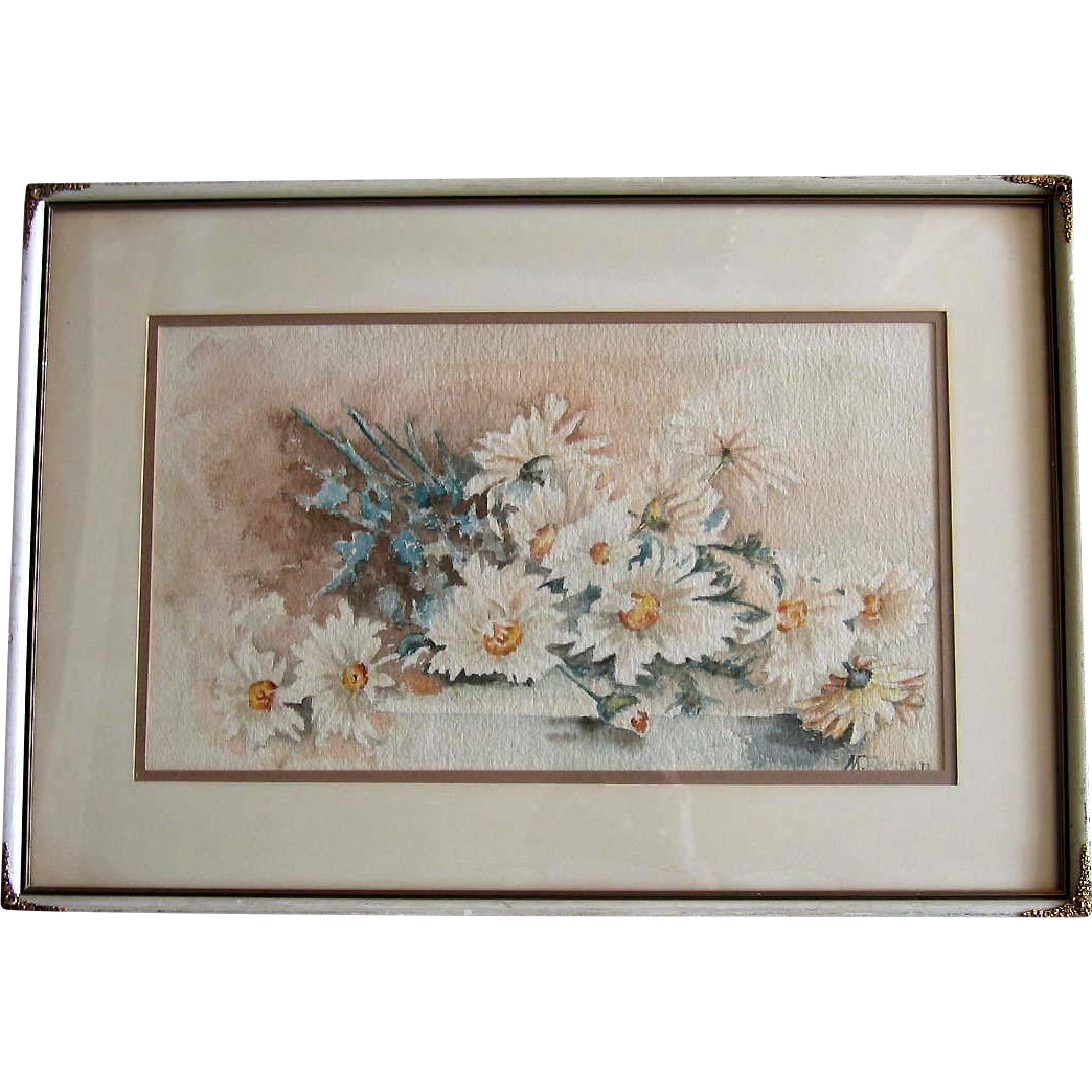 Edwardian Painting Daisies Flower Original Frame Intact Signed Half Yard Long