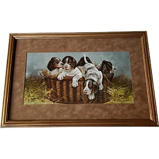 c1895 Puppy Dog Print Narrow Quarters Antique Victorian Chromolithograph Half Yard Long Schmitzberger