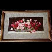 c1910 Roses Print Gold Frame Half Yard Long