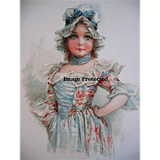 Antique Frances Brundage Print Girl c1890s Chromolithograph Lady