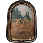 c1910 Deer Print William A Carson Convex Glass Barbola Frame Back Intact Elk Doe Fawn Man Cave