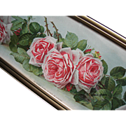 Antique Roses Yard Long Print La France Roses Paul de Longpre c1903 Author Autograph