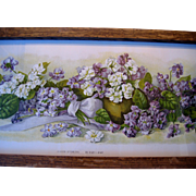 Antique Yard Long Violets Print Mary Hart Victorian