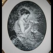 Antique Lady Dove Print Charles Joshua Chaplin The Sweetheart c1880