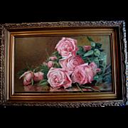 c1898 Antique Roses Print Original Frame Marsh Chromolithograph Half Yard Long