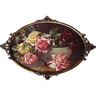 Vintage Roses Print Antique Bubble Convex Glass Fancy Brass Frame Half Yard Long