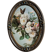 Vintage Roses Print Paul de Longpre Butterfly Antique Barbola Frame Convex Bubble Glass Large