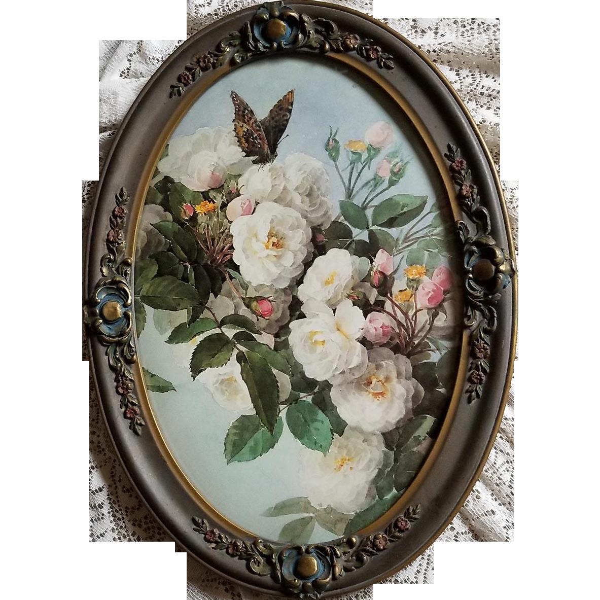 Paul de Longpre Bride Roses Butterfly Print Antique Barbola Frame Convex Bubble Glass Large