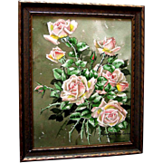 Antique Roses Painting Signed Listed Marjorie Ransom Cummins Edwardian