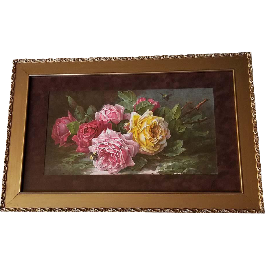 c1894 Roses Print Paul de Longpre Sweet Tokens Half Yard Long Chromolithograph