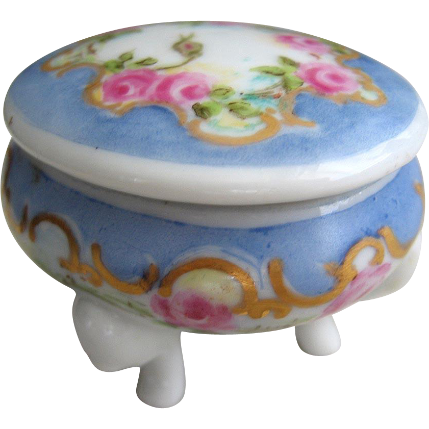 Porcelain Footed Ring Box Hand Painted Signed Tooth Fairy Box Miniature