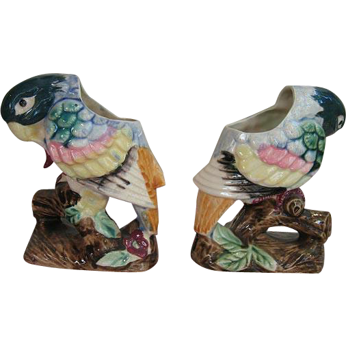 Two Pottery Parrot Vase s Matched Pair Vintage