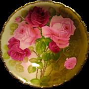 c1900 Roses Porcelain Bowl Bavaria Gold Signed