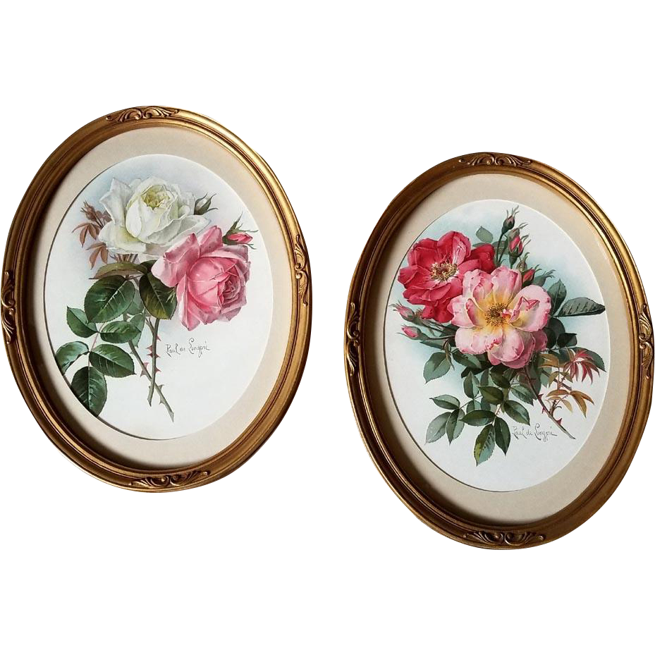 Large Pair Paul de Longpre Roses Prints Antique Victorian Chromolithograph Print s