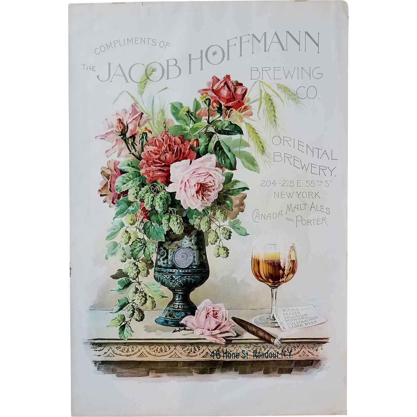 Roses Beer Cigar Prohibition Tobacco Print Paul de Longpre c1890 Large Chromolithograph Roses Jacob Hoffmann Brewing Company