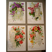 Singer Sewing Calendar Paul de Longpre c1914 Print s Violets Lilacs Nasturtiums Carnations Bees Butterflies