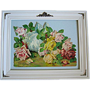 c1906 Roses Calendar Print Catherine Klein Mechanical Stand Up Die Cut Chromolithograph Antique Victorian