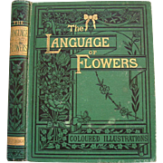 c1875 The Language of Flowers Book First Edition Tyas Antique Victorian Poetry Color Print s
