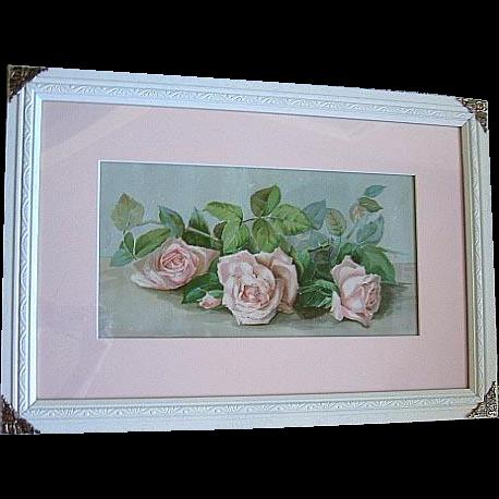 c1896 Roses Print The Three Bridesmaids Sisters Chromolithograph Half Yard Long J Bullis