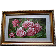 c1894 Antique Pink Cabbage Roses Print Annie Burt Half Yard Long Chromolithograph