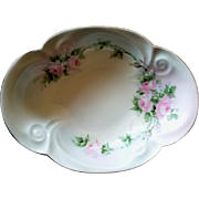 Porcelain Bowl Roses Signed Gold Rim