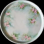 French Tressemann Vogt Limoges Charger Plate Pink Roses Gold Antique Porcelain Hand Painted