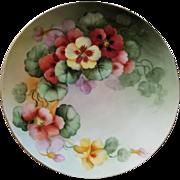 Nasturtiums Plate Gold Rim Signed Flower Floral