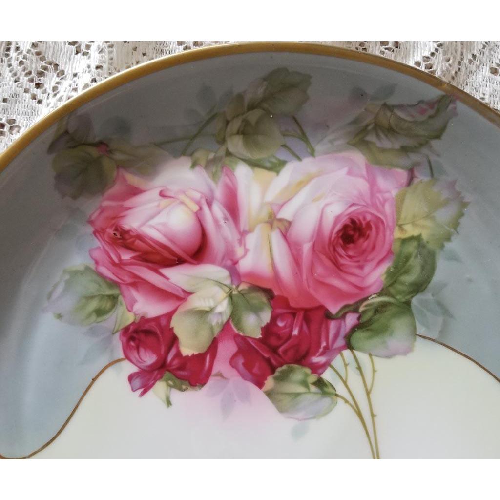 Antique Roses Charger Royal Munich Bavaria Empire Gold Rim