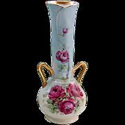 Vintage Hand Painted Roses Vase Gilt