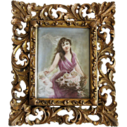 Antique Painting Tile Bisson Springs Offering Lady Cupids Antique Frame