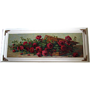 Antique Roses Basket Painting Yard Long Oil