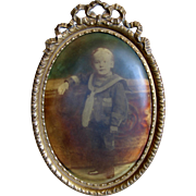 Brass Ormolu Frame with Sailor Boy Antique Victorian