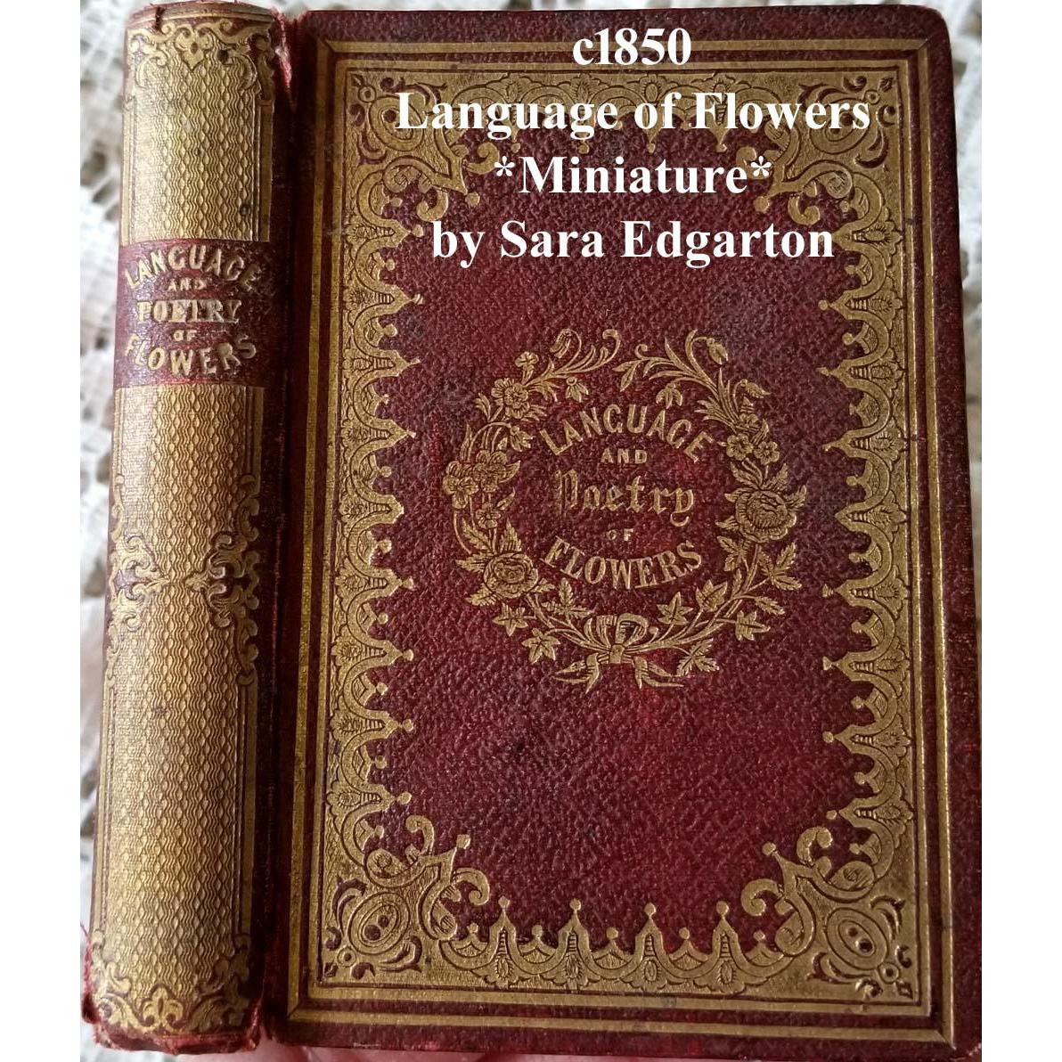 c1850 Language and Poetry of Flowers Book Miniature Edgarton Pre Civil War Sentiment Symbolism